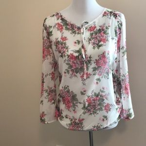 Sheer floral blouse